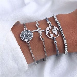 Jewelry - 4 Pcs Bracelet Set w/ Heartbeat, Crystals and Map